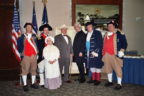 The MOSSAR Color Guard is shown here at the Harry S. Truman Library in Independence, MO during Constitution Week 2006 on September 17th, 2006. Pictured here is Major General Robert L. Grover, MOSSAR Color Guard Commander; Eric DeVenney & his daughter Anna DeVenney, Mr. Johnson as Harry S. Truman, William S. Worley as James Madison, Fred Krebs as Benjamin Franklin, and Captain James L. Scott