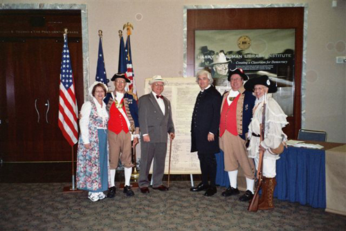 The MOSSAR Color Guard is shown here at the Harry S. Truman Library in Independence, MO during Constitution Week 2006 on September 17th, 2006. Pictured here is Laura DeVenney, Major General Robert L. Grover, MOSSAR Color Guard Commander; Mr. Johnson as Harry S. Truman, William S. Worley as James Madison, Captain James L. Scott, and Captain Russell F. DeVenney, Jr., MOSSAR 1st Vice President