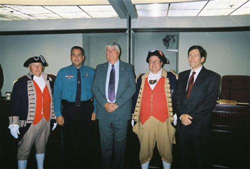 The MOSSAR Color Guard is shown here at the Kansas City Police Headquarters building in Kansas City, MO during the Alexander Majors Chapter presentation of Law enforcement awards on September 26th, 2006. Color Guard members pictured here are Alvin L. Paris and Captain James L. Scott, along with three recipients Jim Schriever, Pete Lobdell and Rick Osborne