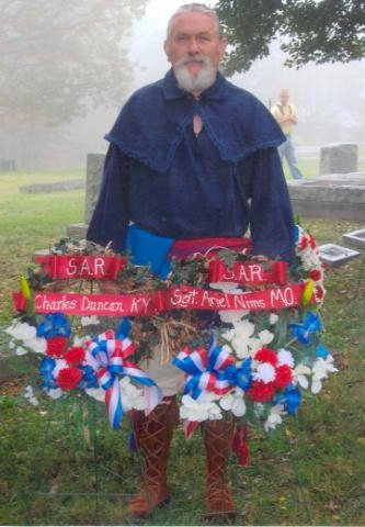 Pictured here is MOSSAR Color Guard member Francis R. Roberson Jr., of Sarcoxie, MO. Compatriot Robertson attended the 225th Anniversary of the Victory at Yorktown, Virginia on October 19th, 2006.  Compatriot Robertson is a member of Ariel Nims Chapter of Joplin, MO