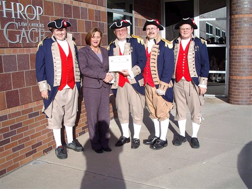 Pictured here is a Flag Certificate Award being presented on October 24, 2006 by the MOSSAR Color Guard team to Lathrop & Gage Law Firm of Springfield, MO