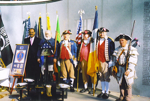 Pictured here is the distinguished guest Congressman Emanuel Cleaver, II and the MOSSAR Color Guard Team on Veterans Day 2006. The MOSSAR Color Guard team participated in the Veterans Day event located at the Vietnam Memorial in Kansas City, MO, which honors veterans of the Vietnam conflict