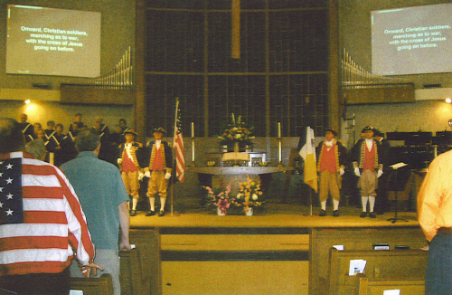 Pictured here is the MOSSAR Color Guard Team taken at First Methodist Church of Lee's Summit during their Armed Forces Program, on November 12, 2006. Color Guard members are Major General Robert L. Grover, MOSSAR Color Guard Commander; Walter A. Glenn, Captain James L. Scott, and Dirk A. Stapleton.
