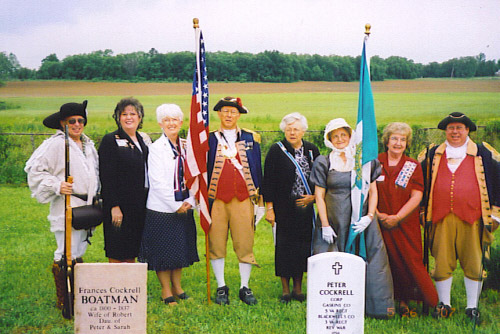 The Hanah Cole and Sarah Polk Chapters of the NSDAR, sponsored the grave marking of Revolutionary War Soldier Peter Cockrell on May 26th, 2007 at the Pleasant Green Methodist Church, Northeast of Clifton City, MO.  Also attending were the MOSSAR Color Guard team