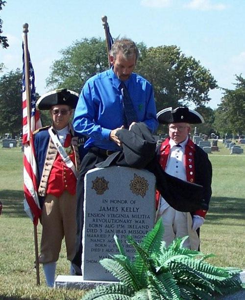 Major General Robert L. Grover, MOSSAR Color Gaurd Commander; and Compatriot J. Wayne Merrill are shown here with Mr. Kenneth Kunze. Mr. Kunze, Presiding Commissioner, Moniteau County, MO read a Proclamation during the James Kelly Grave Marker Dedication at California City Cemetery, MO on September 23, 2007