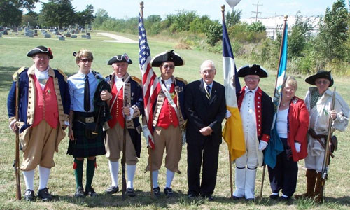 Attending the James Kelly Grave Marker Dedication at California City Cemetery, MO on September 23, 2007 are Captain James L. Scott, James Kay, Bag Piper; Compatriot Alvin L. Paris, Major General Robert L. Grover,MOSSAR Color Gaurd Commander; Bob E. Comer, MOSSAR President; J. Wayne Merrill, Joan Cole, District Director of West Central District MSSDAR, and Captain Russell F. DeVenney, Jr.