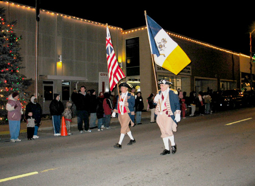 The MOSSAR Color Guard is shown here participating at the Higginsville Christmas Parade in Higginsville, MO on November 23, 2007