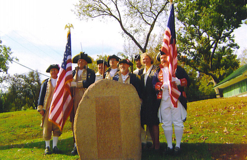 Pictured here is the MOSSAR Color Guard team along with Chapter Historical Officer Becky Osbourn who presented the history of the markers at the Re-dedication of El Camino Real Marker in Kimmswick, MO on Sunday, October 19th, 2008. The granite marker, along with ones located in New Madrid, Cape Girardeau, and Ste. Genevieve were installed by the Missouri Daughters of the American Revolution in 1917.