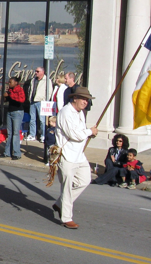 A member of the Allen Laws Chapter, Cape Girardeau, MO and  MOSSAR Color Guard is shown here participating in the annual Cape Girardeau, MO Parade on Saturday, November 1, 2008.