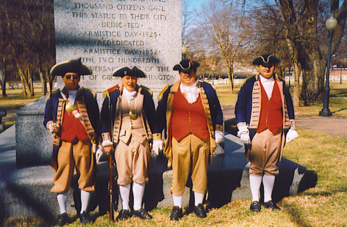 Several local D.A.R. and S.A.R. Chapters, along with the Corps of Discovery Society Children of the American Revolution, celebrated Presidents Day 2009 with a Wreath Laying Ceremony at the Memorial of General George Washington, at Washington Square Park, in Kansas City, MO. The MOSSAR and KSSSAR Color Guard is shown here during the ceremony. The statute of General George Washington was originally dedicated on Armistice Day 1925.