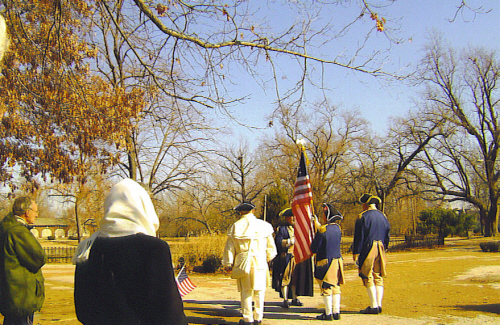 The MOSSAR Color Guard is shown here participating in the President's Day Ceremony in Lafayette Park Louis, MO on  February 16, 2009. Several local D.A.R. and S.A.R. Chapters celebrated Presidents Day 2009.  Lafayette Park, which is the city's oldest public park, was created by ordinance in 1836. The neighborhood is one of the oldest in St. Louis. This neighborhood is one of the most fashionable in St. Louis.