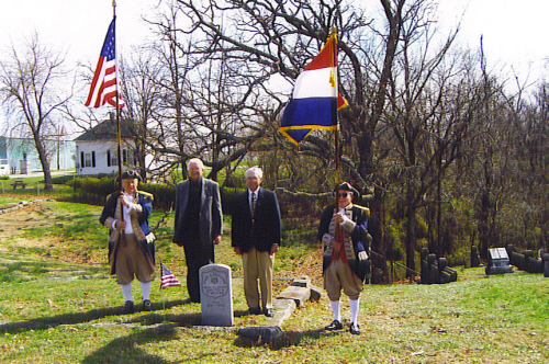 The MOSSAR Color Guard and the Martin Warren Chapter, is shown here participating on March 25, 2009 at the grave marker of Civil War veteran and Congressional Medal of Honor recipient John A. Fleonar, who is buried at Sunset Hill Cemetery, Warrensburg, MO. The Congressional Medal of Honor Recognition Day is a nationwide program to recognize Congressional Medal of Honor recipients.
