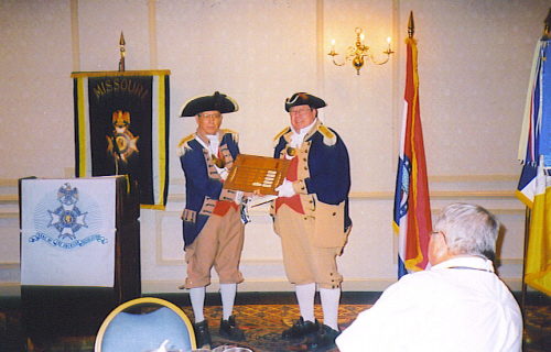 Pictured here is Major General Robert L. Grover, MOSSAR Color Guard Commander, presenting the MOSSAR Color Guardsman Award of the Year for 2009 to Captain James L. Scott. The presentation was conducted at the 119th Annual Missouri State Convention in St. Louis, Missouri on April 25, 2009.