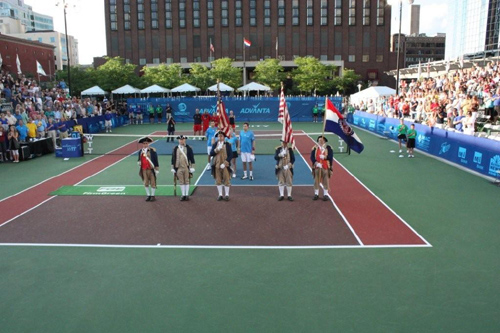 Both the MOSSAR & KSSSAR Color Guard Teams presented the National Colors on Saturday, July 18, 2009, at the World Team Tennis Tournament in Kansas City, Missouri. The Tournament was held at Barney Allis Plaza where the Explorers vs. Washington Kastles played in front of an audience of over 1,200 people.