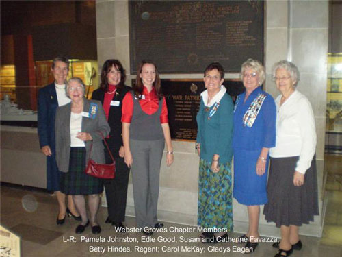 The Webster Groves DAR Chapter is shown here participating in a DAR flag ceremony located at the Missouri State Capitol in Jefferson City, MO on October 19, 2009.