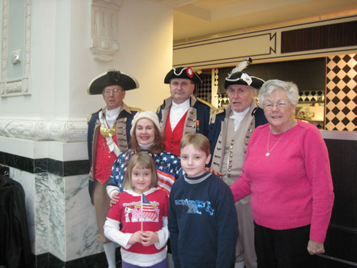 Several local D.A.R. and S.A.R. Chapters, along with the Corps of Discovery Society Children of the American Revolution, celebrated Presidents Day 2010 with a President's Day Luncheon, after a Wreath Laying Ceremony, at the Memorial of General George Washington, at Washington Square Park, in Kansas City, MO.