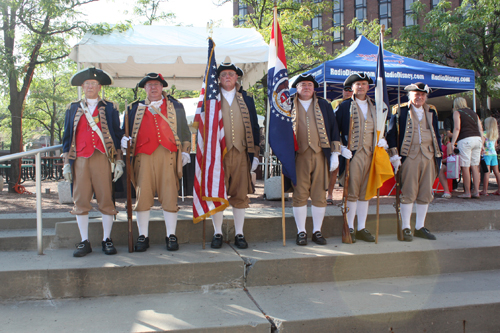 Shown here are both the MOSSAR and KSSSAR Color Guard Teams, who participated in the opening ceremonies of the Kansas City Explorers World Team Tennis (WTT) Matches. The MOSSAR and KSSSAR Color Guard Teams presented the National and SAR Colors at the WTT matches, held at Barney Allis Plaza in Kansas City, MO on four separate occasions including July 8, 16, 18, and 25th, 2010.