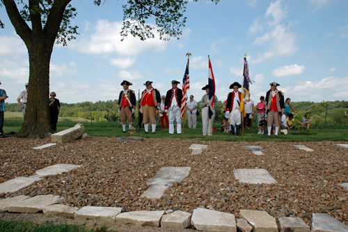 Shown here is the MOSSAR Color Guard team participating at the M. Graham Clark Chapter Grave Marking Ceremony, for Revolutionary War Patriot Randolph White, at Old David Austin Cemetery, in Huntsville, Missouri on Saturday, August 14, 2010.  Private Randolph White fought along side of patriots from the Captain Robert Todd Company, Illinois Regiment of George Rogers Clark, American Revolutionary War, in the Kaskaskia - Vincennes - Piqua Battles during 1778-17779.  M. Graham Clark Chapter President John Coutts officiated in the ceremony.