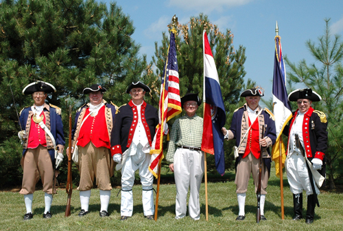 Shown here is the MOSSAR Color Guard team participating at the M. Graham Clark Chapter Grave Marking Ceremony, for Revolutionary War Patriot Randolph White, at Old David Austin Cemetery, in Huntsville, Missouri on Saturday, August 14, 2010.  Private Randolph White fought along side of patriots from the Captain Robert Todd Company, Illinois Regiment of George Rogers Clark, American Revolutionary War, in the Kaskaskia - Vincennes - Piqua Battles during 1778-17779.