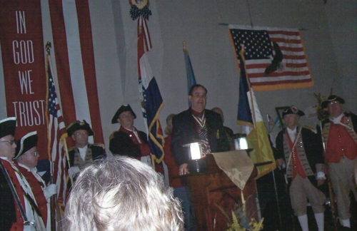 Pictured here is the MOSSAR Color Guard team, along with MOSSAR State President Clifford Olsen, participating with the Thomas Hart Benton DAR Chapter, at the Patriot Benjamin Proctor Memorial, located at Union/William Cemetery, Cole Camp in Benton County, Missouri on Sunday, October 3, 2010.