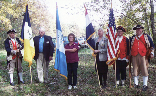 Pictured here is the MOSSAR Color Guard team at the Grave Marking for Revolutionary War Patriot Leonard Keeling Bradley in Randolph County, Missouri on Sunday, October 10, 2010.