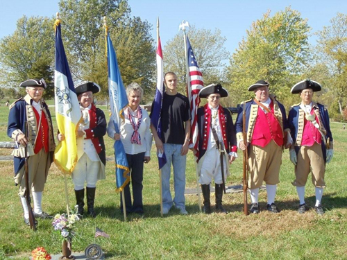 Pictured here is the MOSSAR Color Guard team at a Grave Marking for Eugenia Fee Dernosek, a Blue Springs DAR Chapter member who is buried at Swan Lake in Grain Valley, Missouri. The MOSSAR Color Guard team is shown here on Saturday, October 16, 2010.