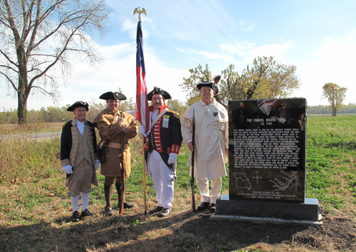 Pictured here is the MOSSAR Color Guard team at the DAR Trail Marking Ceremony taking place on October 30, 2010, at West Alton, MO.