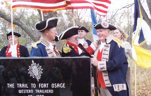 Pictured here is the MOSSAR Color Guard team during the Promotion of Captain Al Paris, at the Trail to Fort Osage DAR Marker Ceremony, which took place on Sunday, October 31, 2010, near the Fort Osage Education Center.