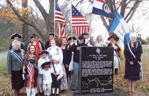Pictured here is the MOSSAR Color Guard team, along with several DAR Chapters from the Kansas City area, and the CAR Corps of Discovery Society.   The Trail to Fort Osage DAR Marker Ceremony took place on Sunday, October 31, 2010, near the Fort Osage Education Center.