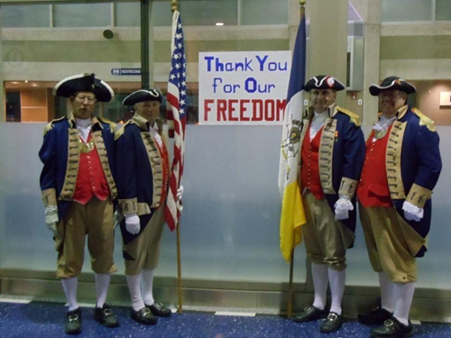 Pictured here is the MOSSAR Color Guard team, shown here at the Honor Flight Greeting for WWII Veterans at Kansas City International on Wednesday evening, November 3, 2010.