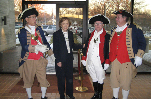 The Independence Pioneers DAR Chapter conducted the 23rd Annual Observance of Elizabeth 'Bess' Wallace Truman's birthday at the Harry S. Truman Library in Independence, MO on Sunday, February 13th, 2011 at 2:00 PM. The MOSSAR Color Guard team is shown here with Mrs. Rosalynn Carter after participating during the wreath-laying ceremony event, which was presented at Mrs. Truman's grave.