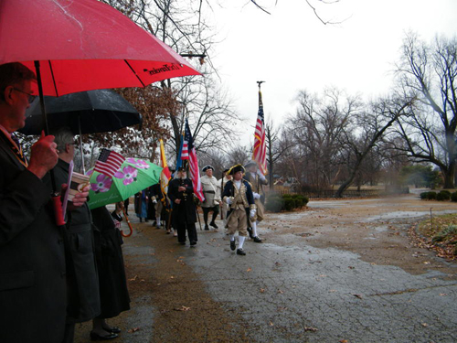 Brigadier General Stephen Baldwin, MOSSAR Eastern Color Guard Commander, is shown here with the MOSSAR Color Guard at Lafayette Park durimg the Presidemts Day Ceremony on Monday, February 21st, 2011