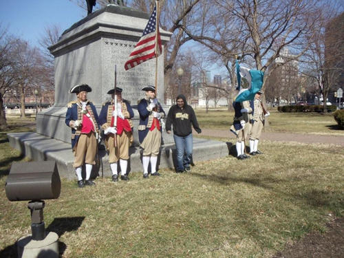 Several local D.A.R. and S.A.R. Chapters, along with the Corps of Discovery Society Children of the American Revolution, celebrated Presidents Day 2011 with a Wreath Laying Ceremony at the Memorial of General George Washington, at Washington Square Park, in Kansas City, MO. The MOSSAR and KSSSAR Color Guard is shown here during the ceremony. The statute of General George Washington was originally dedicated on Armistice Day 1925.