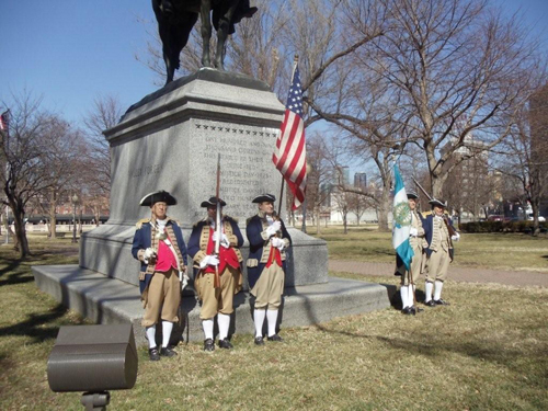 Several local D.A.R. and S.A.R. Chapters, along with the Corps of Discovery Society Children of the American Revolution, celebrated Presidents Day 2011 with a Wreath Laying Ceremony, at the Memorial of General George Washington, at Washington Square Park, in Kansas City, MO. The MOSSAR and KSSSAR Color Guard is shown here during the ceremony. Victoria Stapleton, Corps of Discovery Society Children of the American Revolution presented the Wreath in the right photo.