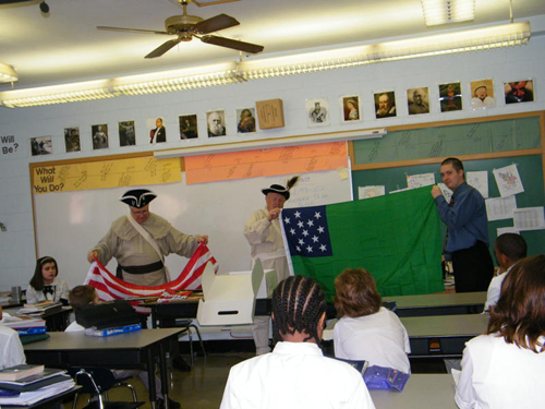 Compatriot Bob Brindell and Compatriot Bill Groth, with the MOSSAR Color Guard, recently provided an American Revolution Presentation at the Gateway Science Academy of St. Louis on February 23, 2011.  Approximately 57 students attended two classroom presentations.