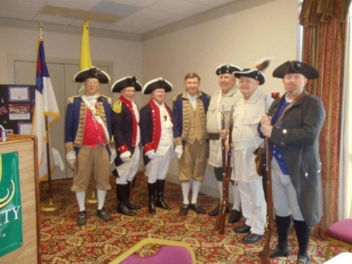 The photo shows members of the MOSSAR Color Guard team at the Eighty-Eighth Annual State Assembly of the National Society Daughters of the American Colonists Missouri State Society. The assembly was held at the Quality Inn, in Columbia, Missouri March 3 - 5, 2011. Major General Robert. L. Grover, Color Guard Commander and MOSSAR Color Guard members presented Colors during the opening procession of this event.