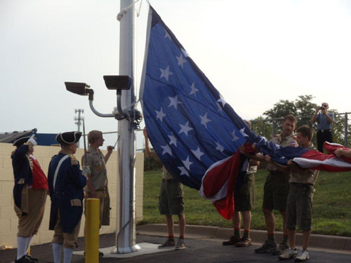 The MOSSAR Color Guard participated in a U.S. Flag raising at Perkins Family Restaurant Grand Opening on Monday, July 11, 2011, which is located at 3939 South Bolger Road in Independence, MO.  The U.S Flag is 20 feet X 30 feet and the flag pole is 70 feet in height.