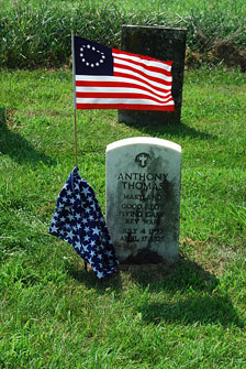 Grave maker of Patriot Anthony Thomas, (1759-1825). located buried ½ mile east of Waverly, in Lafayette County, Missouri.