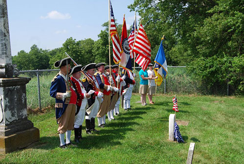 Shown here is the MOSSAR Color Guard Team, where they participated in the American Revolution War Patriot Dedication for the Patriot Anthony Thomas on Sunday, July 17, 2011, where he is buried ½ mile east of Waverly, in Lafayette County, Missouri.