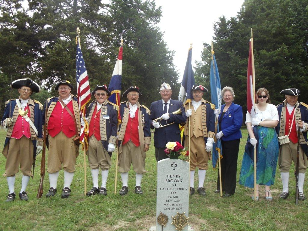 In the photo, the MOSSAR Color Guard Team participated in a Dedication Ceremony for American Revolution War Patriot Henry Brooks on Saturday, May 19, 2012, where he is buried in the Old City Cemetery, which is in Warrensburg, Missouri.  Patriot Henry Brooks was a Private in Captain Bluford's Company, Virginia Militia during the American Revolution.  The MOSSAR Color Guard Team is shown here at the grave maker of American Revolution War Patriot Henry Brooks, (1755-1837).