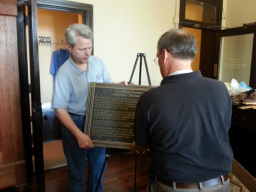 President General Joseph W. Dooley is shown here during the presentation of the 80th Year Rededication Plaque to the Jackson County Historical Society, Jackson County, Missouri, Historic Truman Courthouse, Independence Square, Independence, Missouri on Friday, September 6, 2013