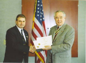 Dirk Stapleton receiving Supplemental Certificate